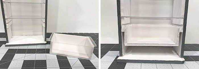 DIY Doll Freezer: Sliding the drawer in place.