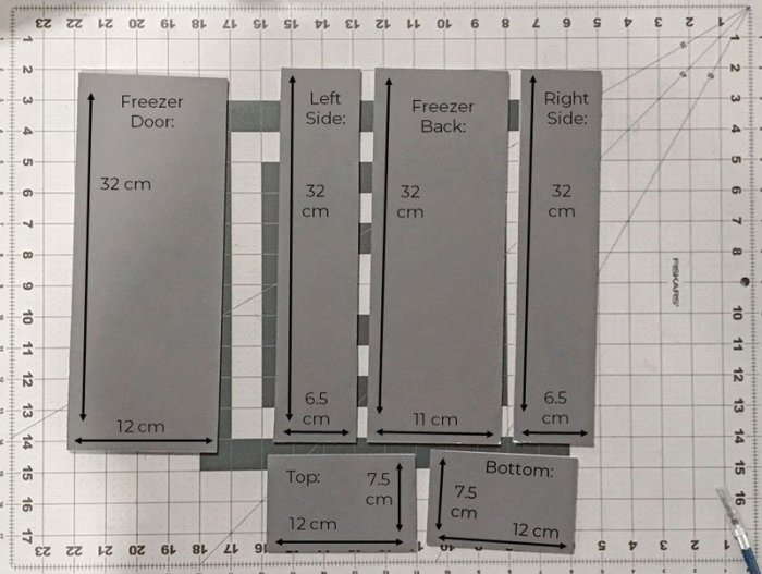 Dimensions for Barbie doll freezer.
