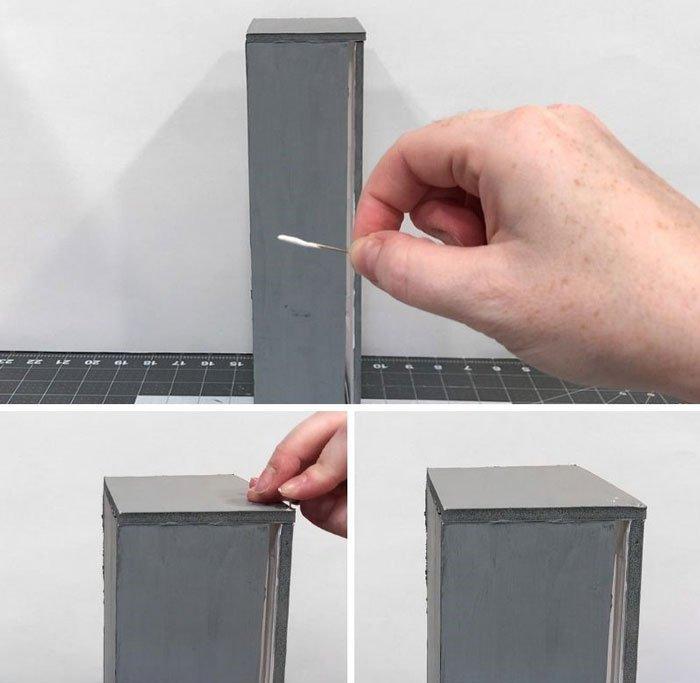 DIY Doll Freezer: Hang the freezer door using small sewing pins.