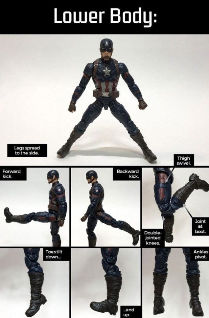 Marvel Legends Captain America: Lower Body Articulation.