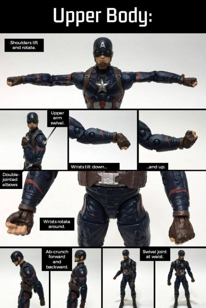 Marvel Legends Captain America: Upper Body Articulation.