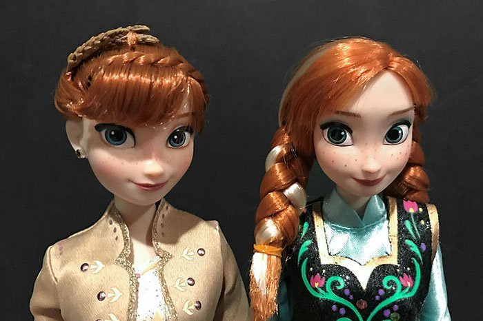 Comparison between Frozen Anna and Frozen 2 Anna dolls.