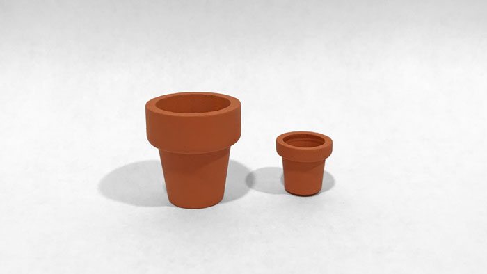 Miniature pots from Hobby Lobby.