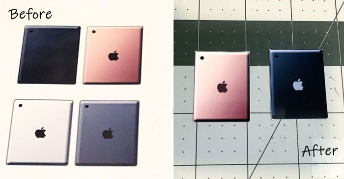 Miniature iPads with fixed logo.