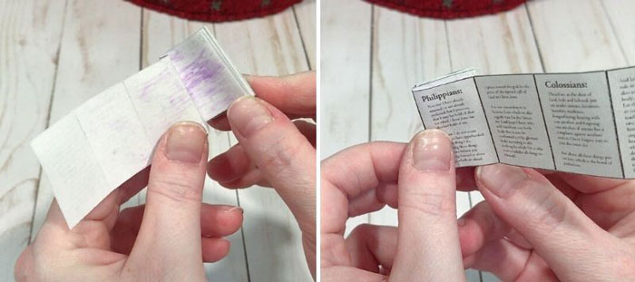 Gluing miniature Bible pages.
