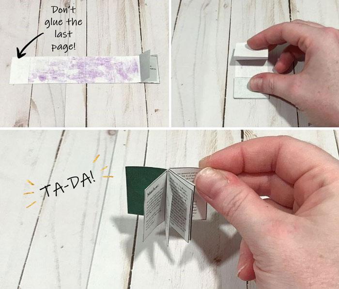 Glue page backs together.