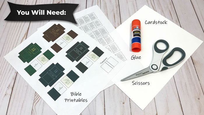 Making miniature Bibles (supplies needed).