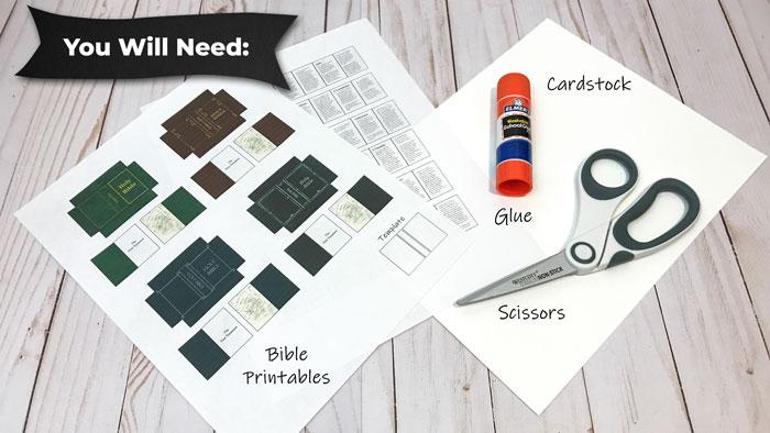 Making miniature Bibles (supplies needed).