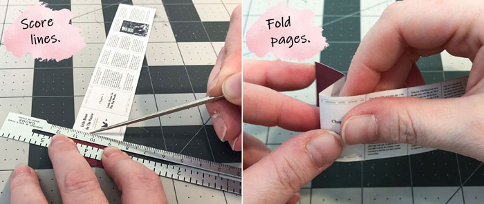 DIY Doll Books: Score and fold pages.