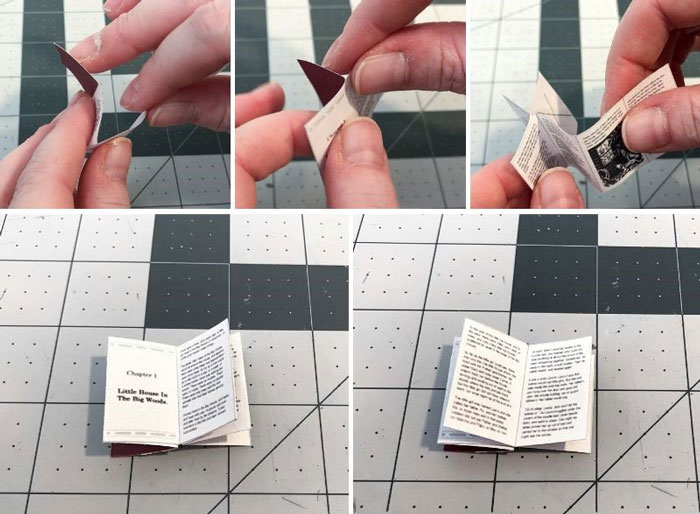 DIY Doll Books: Glue backside of pages together.