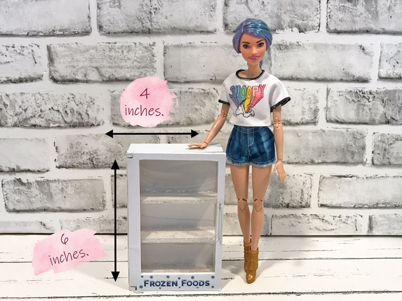 Making a mini freezer for our doll grocery store.