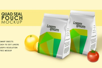 Quad seal pouch mockup psd