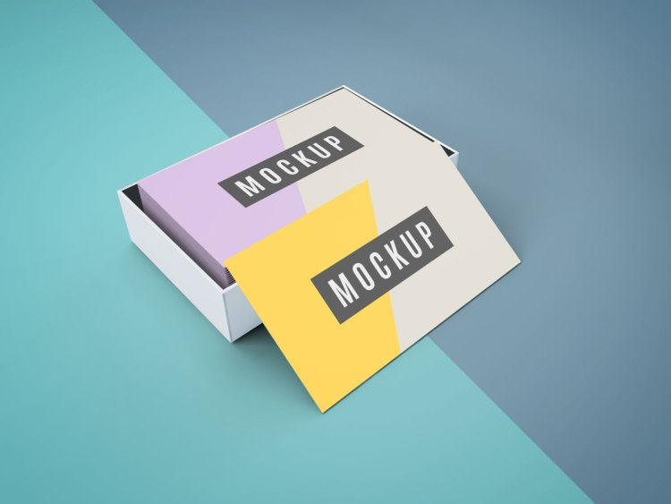 Free Business card in binder clip Mockup