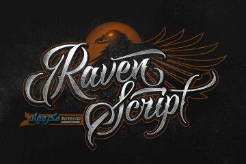 raven script font