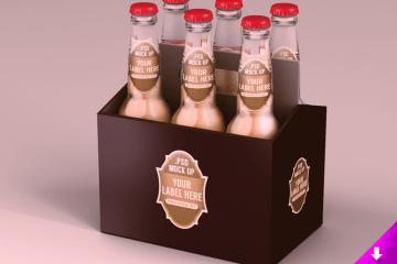 Six Pack Beer Packaging Mockup