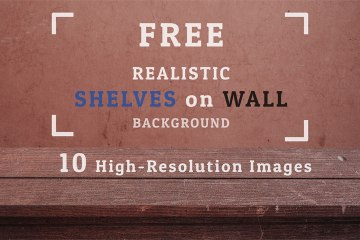 10 Free Realistic Shelves on Wall Backgrounds Set 01