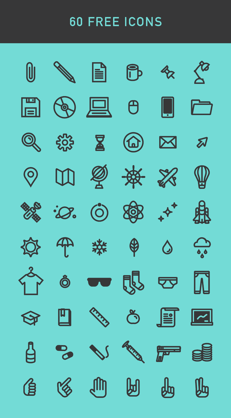 60 Vector Icons Free Pack