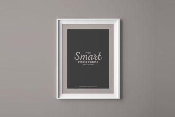 Photo Frame on Wall PSD Mockup