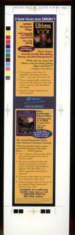 Ultima Trilogy 2/Wing Commander Deluxe Advert