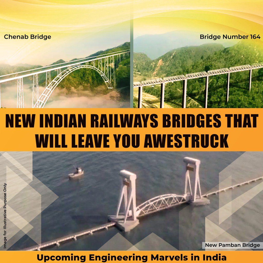 Marvels on Horizon: Railways is pushing through tough & challenging terrains to provide nationwide connectivity  From tallest railway bridge over Chenab to first vertical lift bridge at Pamban, India is set to witness some of the best engineering marvels