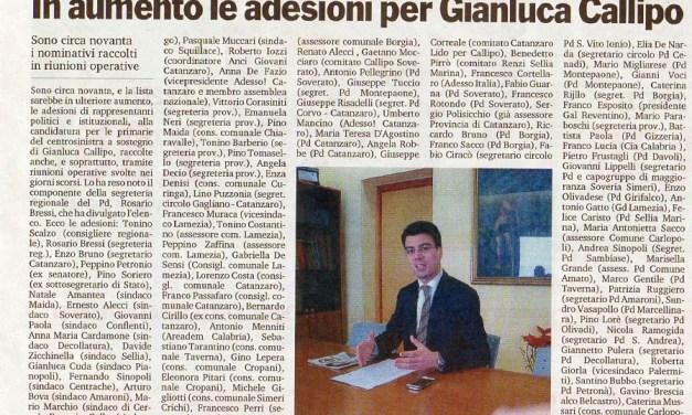18 Agosto 2014 – In aumento le adesioni per Gianluca Callipo