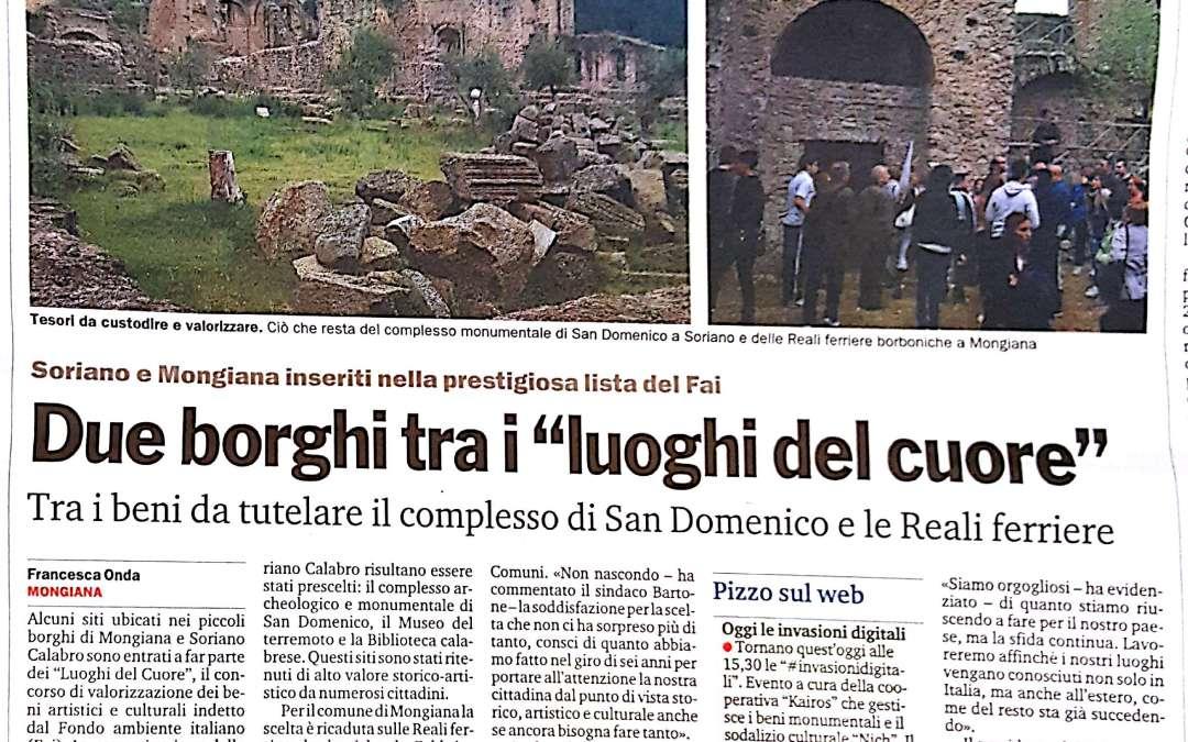 Due borghi tra i luoghi del cuore: il complesso San Domenico a Soriano e le Reali Ferriere di Mongiana.