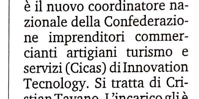 Cristian Taranto al vertice di Cicas