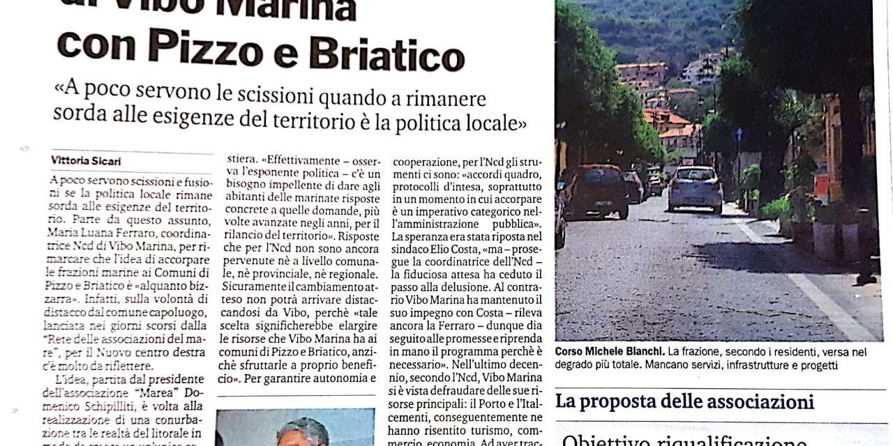 """L""""NCD boccia la fusione di Vibo Marina con Pizzo e Briatico"""