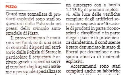 Prodotti esplosivi sequestrati a Pizzo