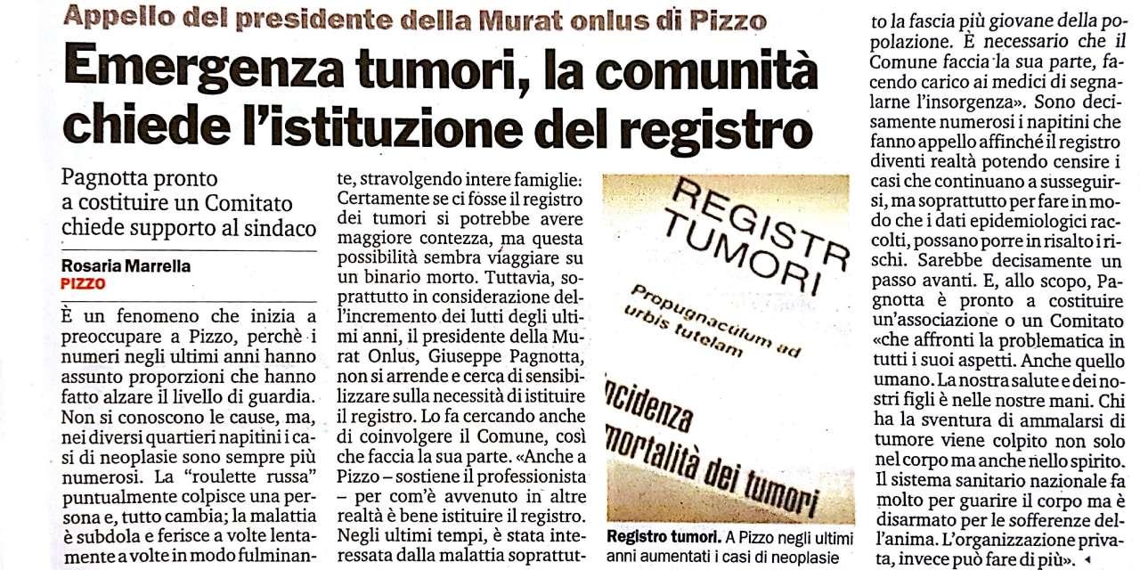 """Emergenza tumori, la comunita"""" chiede l'istituzione del registro"""