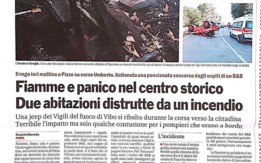 FIAMME E PANICO NEL CENTRO STORICO DUE ABITAZIONI DISTRUTTE DA UN INCENDIO
