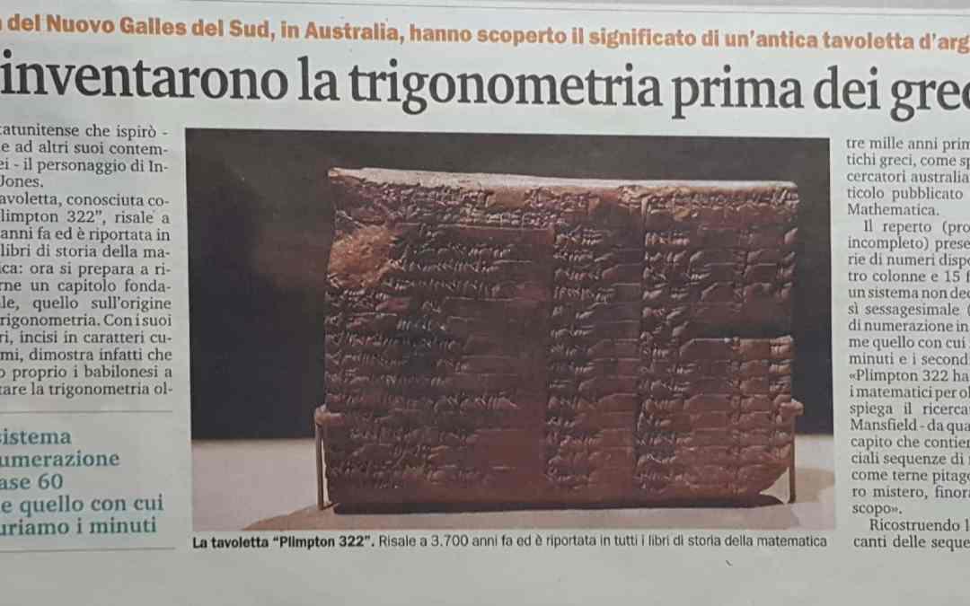 I Babilonesi inventarono la trigonometria prima dei Greci