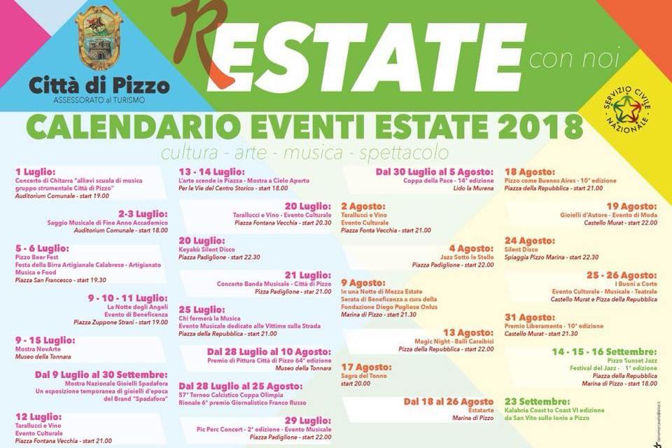 CALENDARIO EVENTI ESTATE 2018 A PIZZO