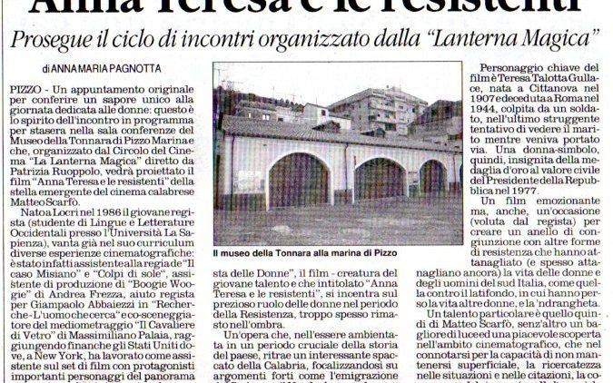 """""""ANNA TERESA E LE RESISTENTI"""" DI ANNA MARIA PAGNOTTA"""