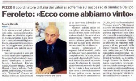 """13/5/2012. FEROLETO :""""ECCO COME ABBIAMO VINTO"""""""
