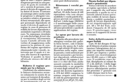 31/10/2019 – MANOVRA 2020 FORFETTARIO, PIU' CAUSE OSTATIVE