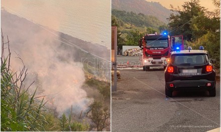 Incendio a Pizzo, le fiamme divampano vicino a un supermercato
