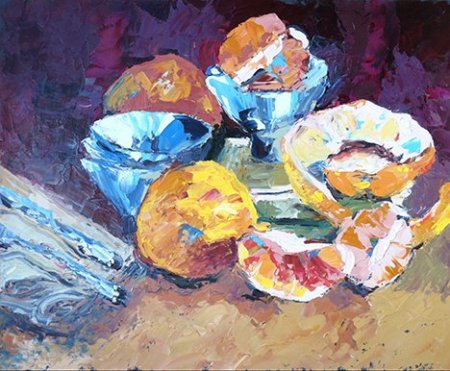 Still life with grapefruit and rice bowls