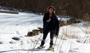Snowshoeing in the garden in March 2015