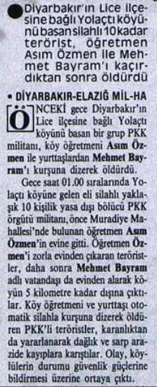 Pkk ilkokul öğretmeni Asım Özden ve köy imamı Mehmet Bayram'ı katletti