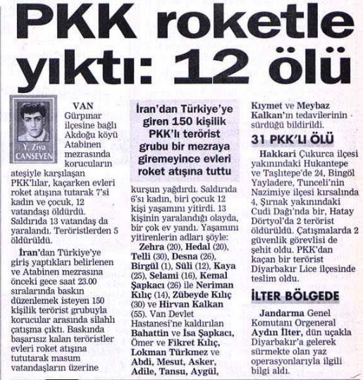 Gürpınar Atabinen mezrası pkk katliamı