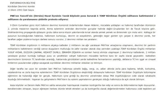 tdkp - pkk çatışması