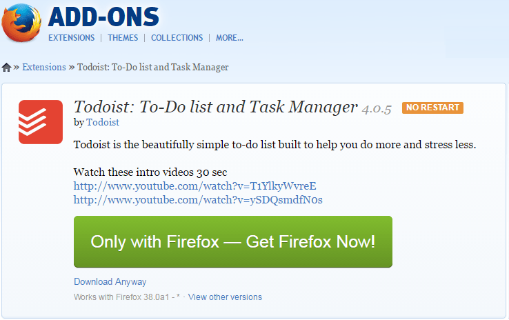 todoist firefox download