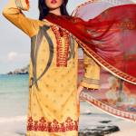 3PC Lawn Neck Embroidered Suit with Chiffon Dubbata