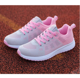 shoes white and pink laces