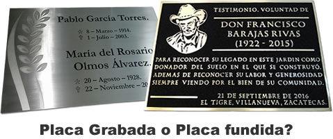 Placas conmemorativas, placa grabada o fundida
