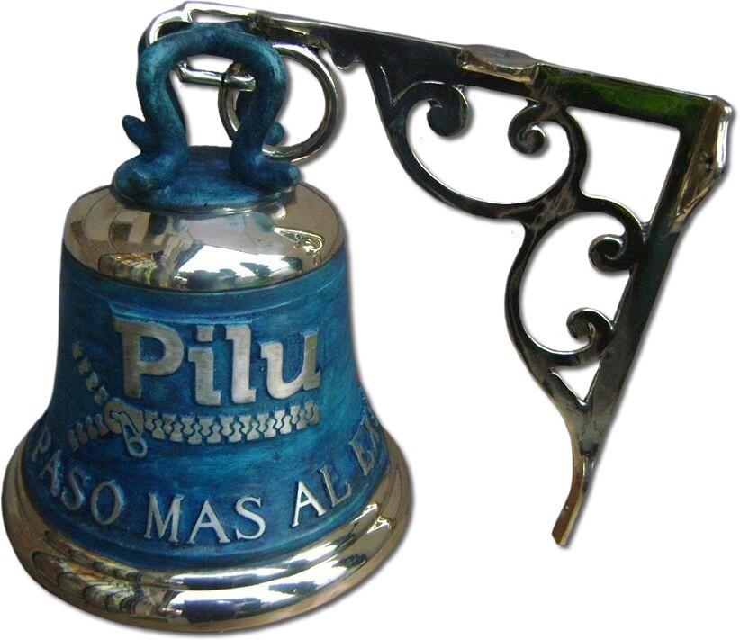 campana fundida en bronce patina azul