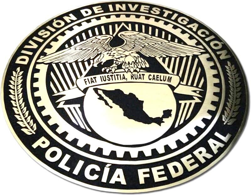 placa de bronce escudo policia federal