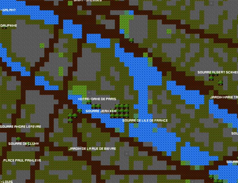 Des cartes de villes 8-Bit