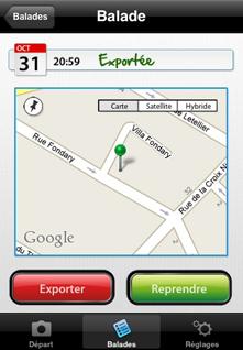 Gps4Cam carte géolocalisation